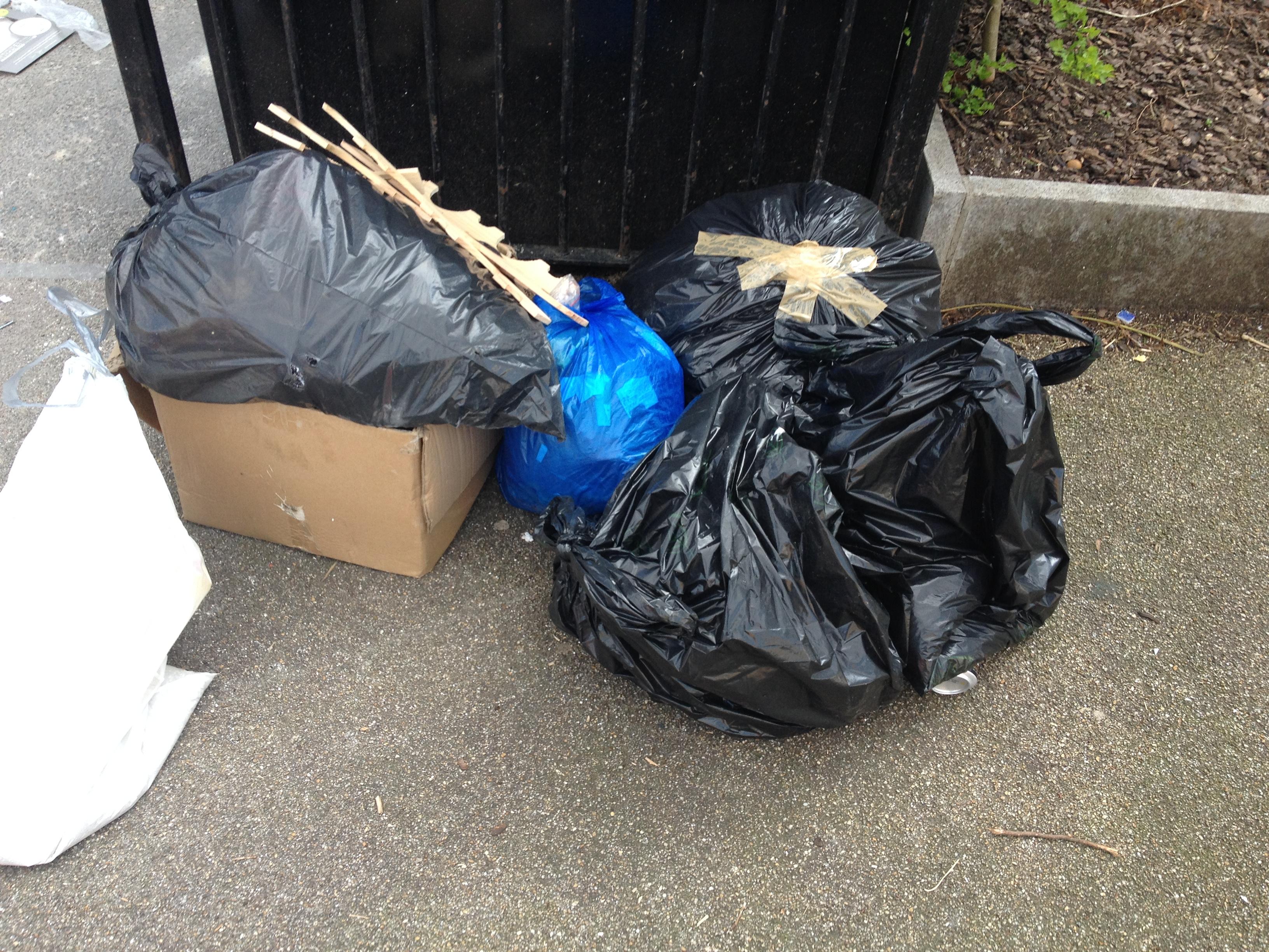 Bin bags overflowing from a bin.