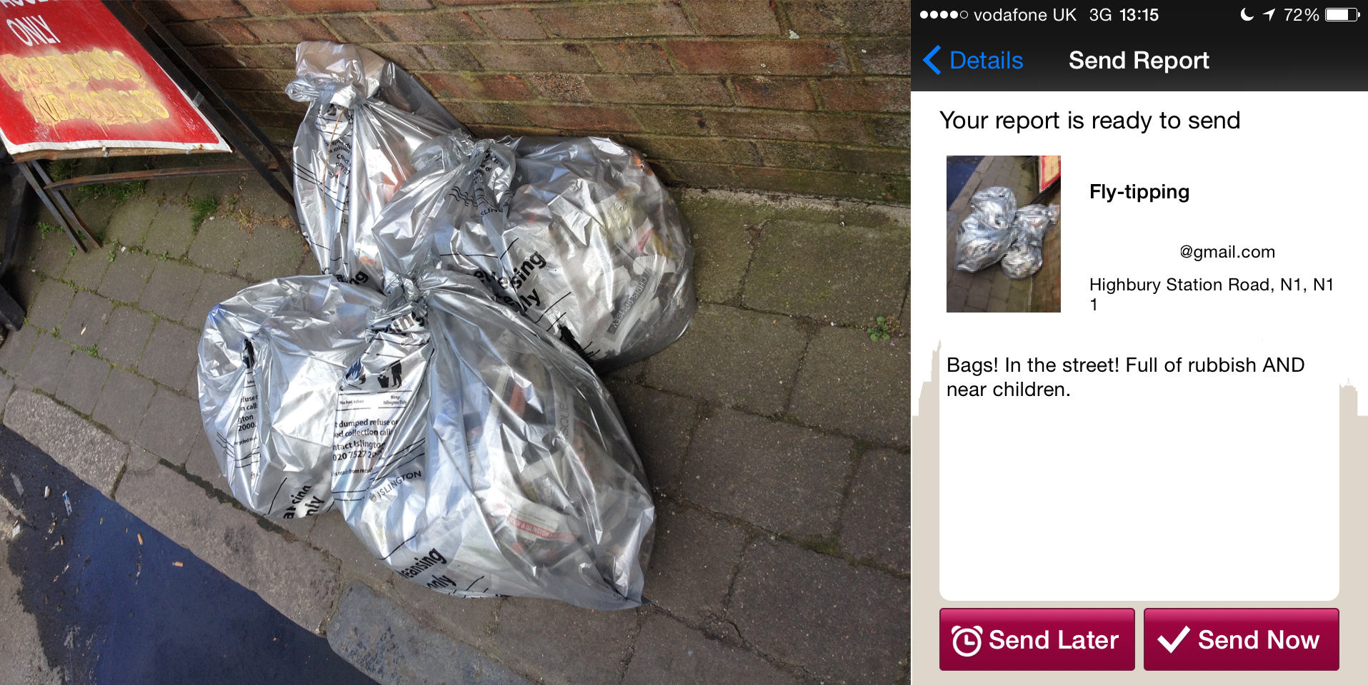Bin bags and the report of them I made
