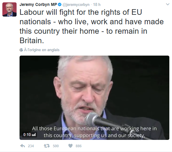 Corbyn has also been vocal on Twitter
