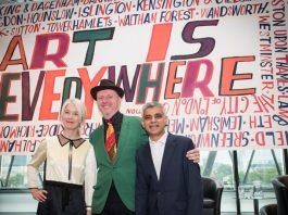 Justine Simons, deputy mayor for culture, artist Bob and Roberta Smith and London mayor Sadiq Khan. Source: London City Hall